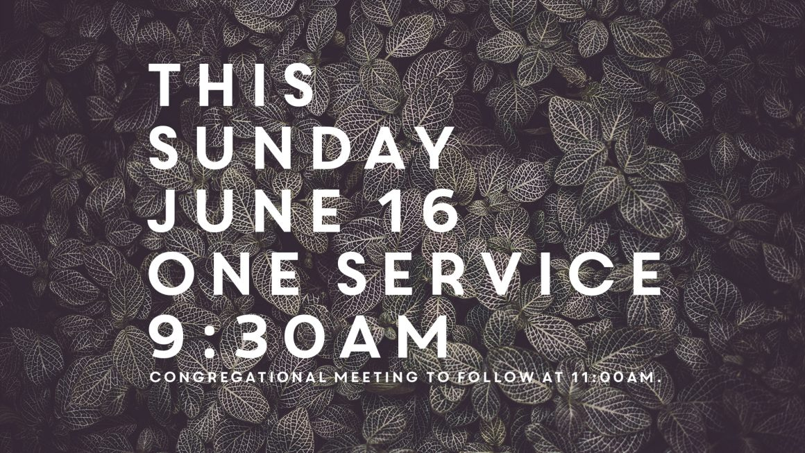 THIS SUNDAY – JUNE 16 – ONE SERVICE AT 9:30